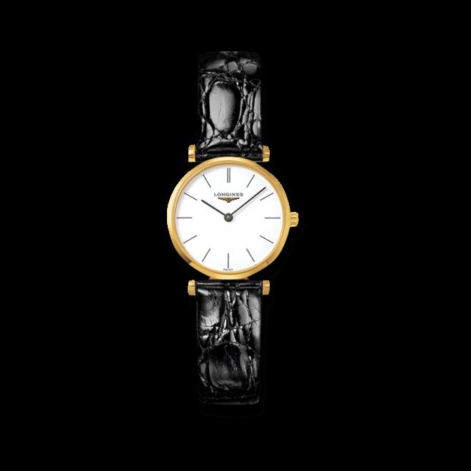 Damenuhr Longines La Grande Classique Quarz 24mm mit weißem Zifferblatt und Alligatorenleder-Armband bei Brogle