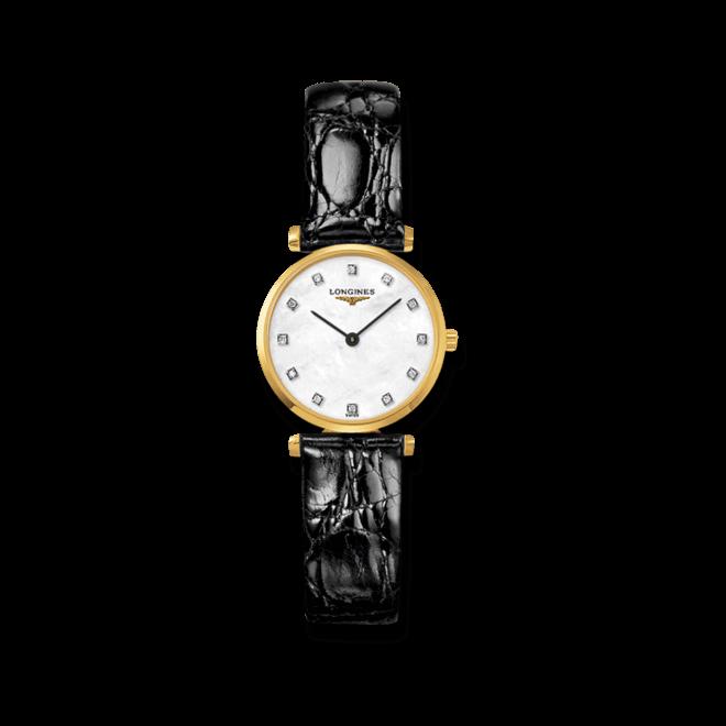 Damenuhr Longines La Grande Classique Quarz 24mm mit Diamanten, perlmuttfarbenem Zifferblatt und Krokodilleder-Armband bei Brogle
