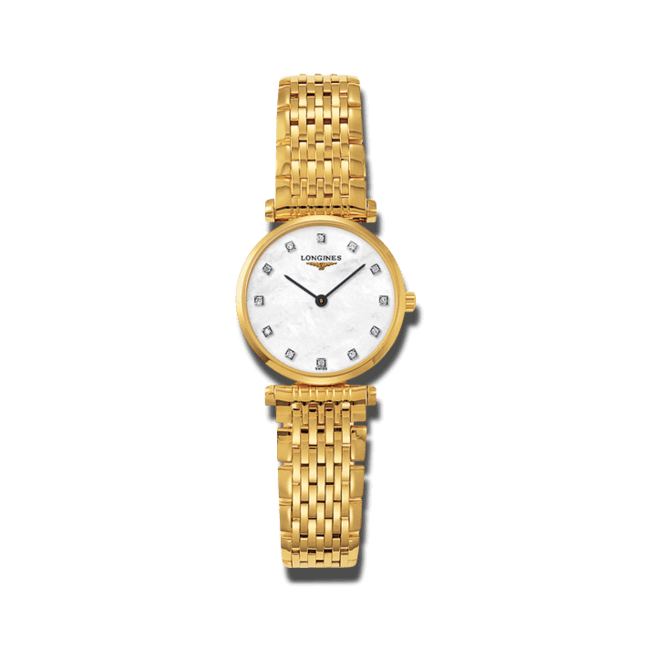Damenuhr Longines La Grande Classique Quarz 24mm mit Diamanten, perlmuttfarbenem Zifferblatt und Edelstahlarmband bei Brogle