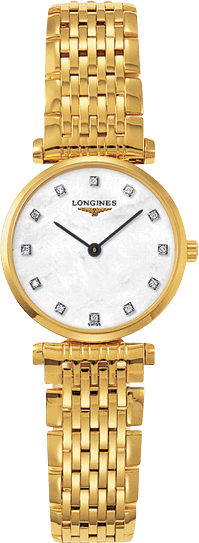 Damenuhr Longines La Grande Classique Quarz 24mm mit Diamanten, perlmuttfarbenem Zifferblatt und Edelstahlarmband