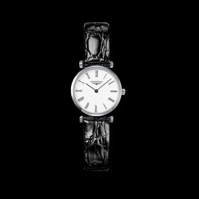 Damenuhr Longines La Grande Classique Quarz 24mm mit weißem Zifferblatt und Krokodilleder-Armband bei Brogle