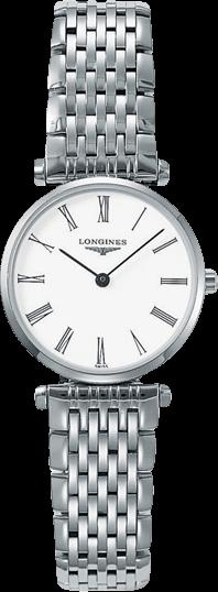 Damenuhr Longines La Grande Classique Quarz 24mm mit weißem Zifferblatt und Edelstahlarmband