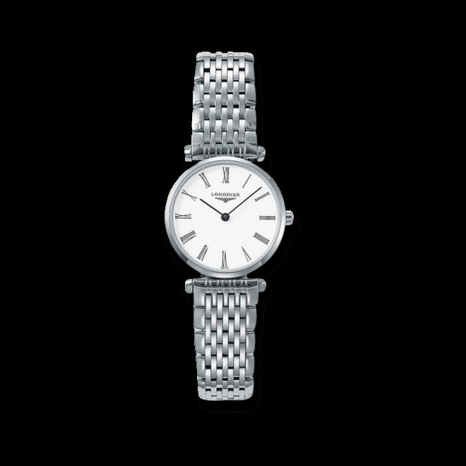 Damenuhr Longines La Grande Classique Quarz 24mm mit weißem Zifferblatt und Edelstahlarmband bei Brogle