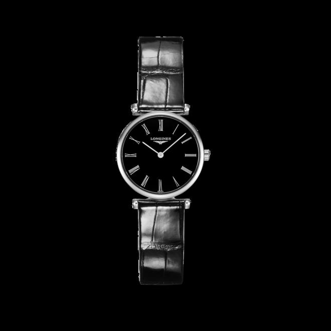 Damenuhr Longines La Grande Classique Quarz 24mm mit schwarzem Zifferblatt und Alligatorenleder-Armband bei Brogle