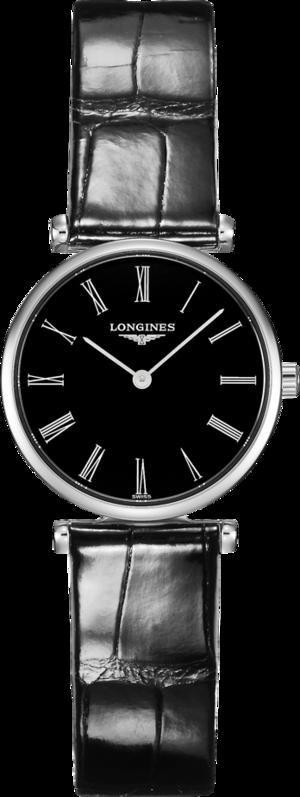 Damenuhr Longines La Grande Classique Quarz 24mm mit schwarzem Zifferblatt und Alligatorenleder-Armband