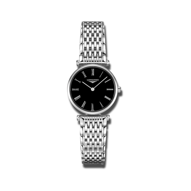 Damenuhr Longines La Grande Classique Quarz 24mm mit schwarzem Zifferblatt und Edelstahlarmband bei Brogle