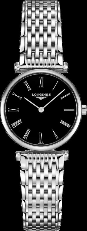 Damenuhr Longines La Grande Classique Quarz 24mm mit schwarzem Zifferblatt und Edelstahlarmband