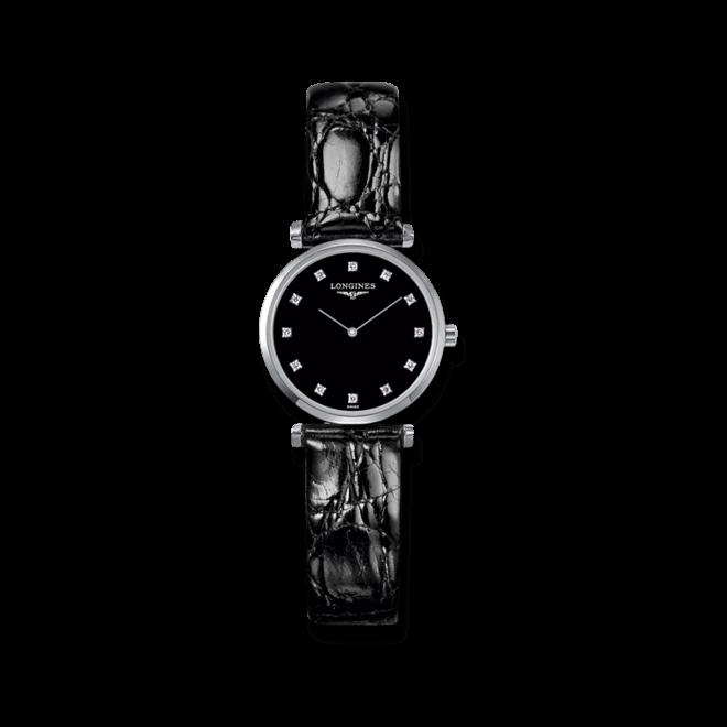 Damenuhr Longines La Grande Classique Quarz 24mm mit Diamanten, schwarzem Zifferblatt und Krokodilleder-Armband bei Brogle