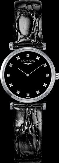 Damenuhr Longines La Grande Classique Quarz 24mm mit Diamanten, schwarzem Zifferblatt und Krokodilleder-Armband