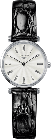 Damenuhr Longines La Grande Classique Quarz 24mm mit silberfarbenem Zifferblatt und Krokodilleder-Armband