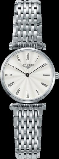 Damenuhr Longines La Grande Classique Quarz 24mm mit silberfarbenem Zifferblatt und Edelstahlarmband