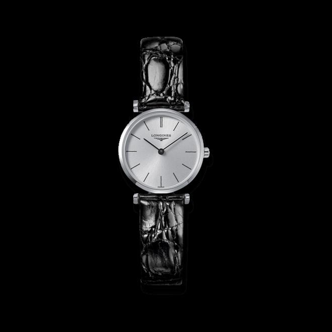 Damenuhr Longines La Grande Classique Quarz 24mm mit silberfarbenem Zifferblatt und Krokodilleder-Armband bei Brogle