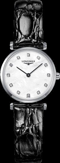 Damenuhr Longines La Grande Classique Quarz 24mm mit Diamanten, perlmuttfarbenem Zifferblatt und Krokodilleder-Armband