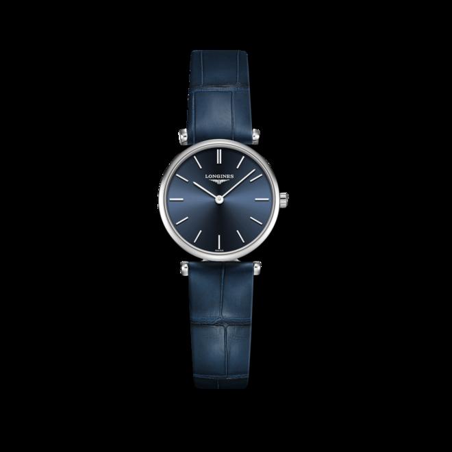 Damenuhr Longines La Grande Classique Quarz 24mm mit blauem Zifferblatt und Alligatorenleder-Armband bei Brogle