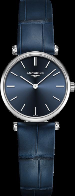 Damenuhr Longines La Grande Classique Quarz 24mm mit blauem Zifferblatt und Alligatorenleder-Armband