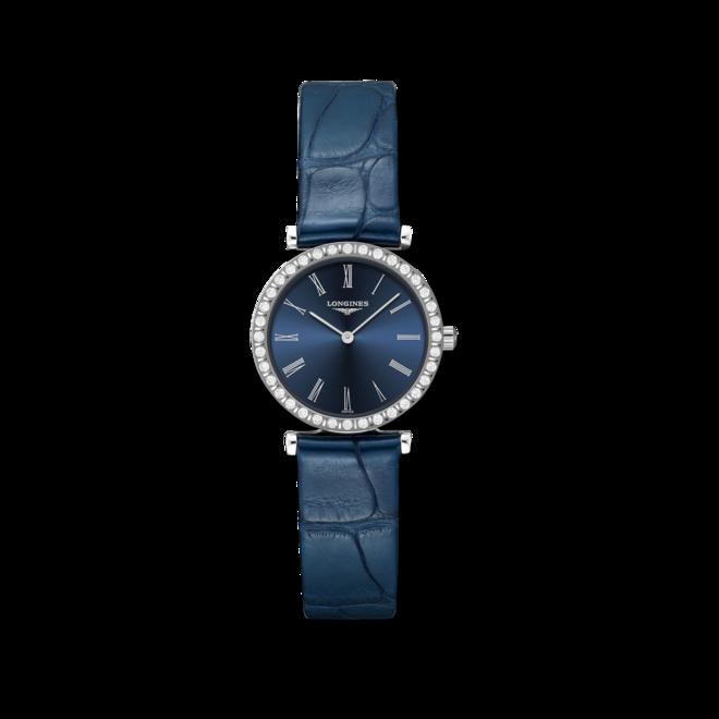 Damenuhr Longines La Grande Classique Quarz 24mm mit Diamanten, blauem Zifferblatt und Alligatorenleder-Armband bei Brogle