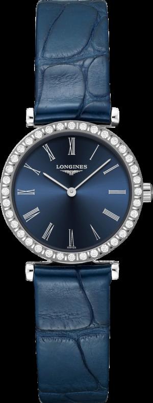 Damenuhr Longines La Grande Classique Quarz 24mm mit Diamanten, blauem Zifferblatt und Alligatorenleder-Armband