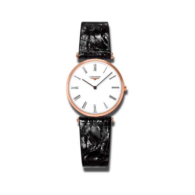 Damenuhr Longines La Grande Classique Quarz 29mm mit weißem Zifferblatt und Kalbsleder-Armband bei Brogle