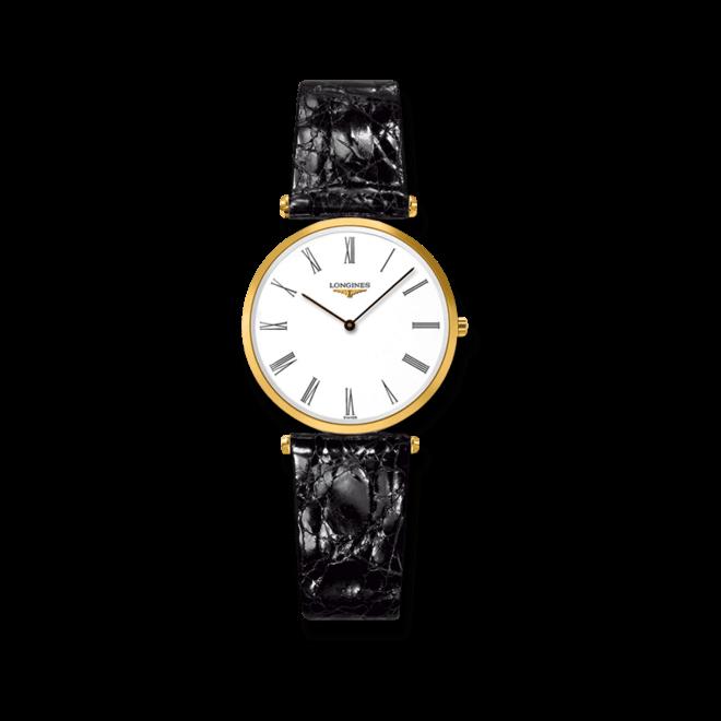 Damenuhr Longines La Grande Classique Quarz 29mm mit weißem Zifferblatt und Alligatorenleder-Armband bei Brogle