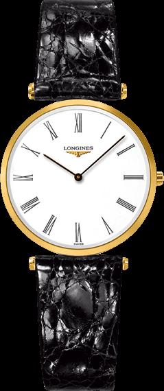 Damenuhr Longines La Grande Classique Quarz 29mm mit weißem Zifferblatt und Alligatorenleder-Armband