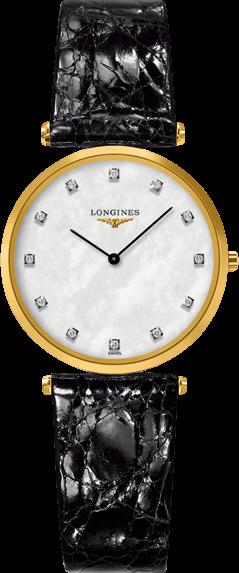 Damenuhr Longines La Grande Classique Quarz 29mm mit Diamanten, perlmuttfarbenem Zifferblatt und Krokodilleder-Armband