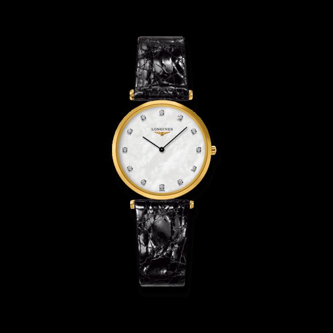 Damenuhr Longines La Grande Classique Quarz 29mm mit Diamanten, perlmuttfarbenem Zifferblatt und Krokodilleder-Armband bei Brogle