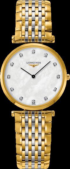 Damenuhr Longines La Grande Classique Quarz 29mm mit Diamanten, perlmuttfarbenem Zifferblatt und Edelstahlarmband