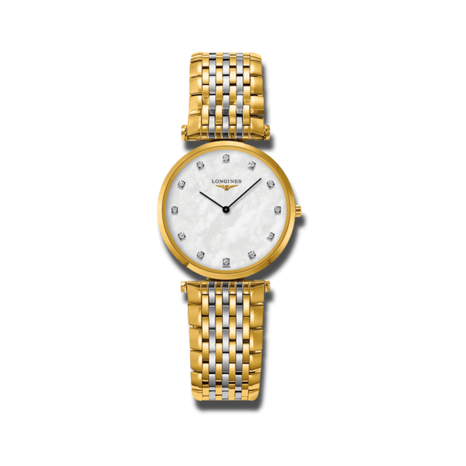 Damenuhr Longines La Grande Classique Quarz 29mm mit Diamanten, perlmuttfarbenem Zifferblatt und Edelstahlarmband bei Brogle