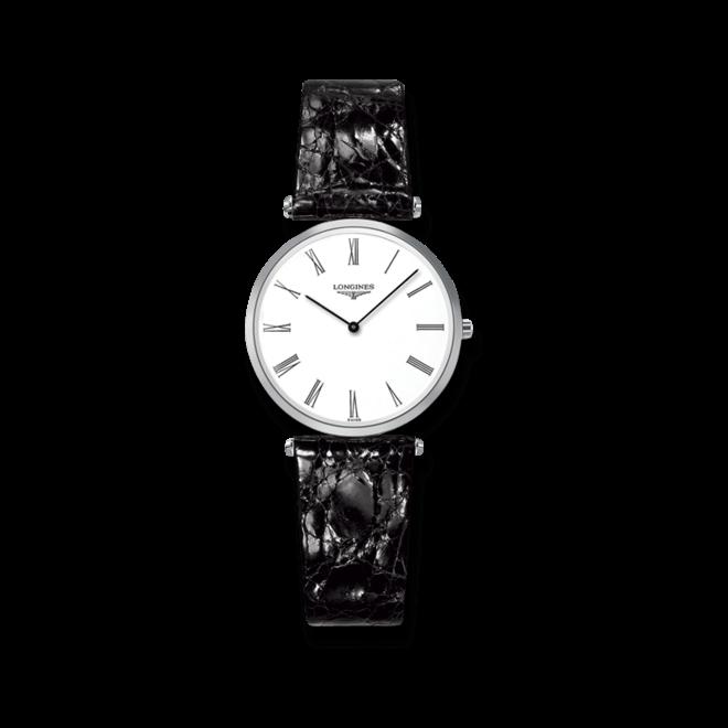 Damenuhr Longines La Grande Classique Quarz 29mm mit weißem Zifferblatt und Krokodilleder-Armband bei Brogle
