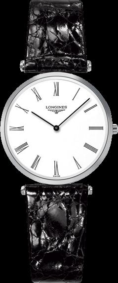 Damenuhr Longines La Grande Classique Quarz 29mm mit weißem Zifferblatt und Krokodilleder-Armband