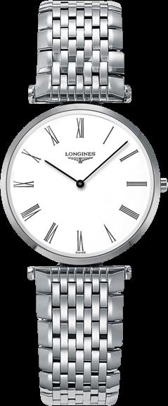 Damenuhr Longines La Grande Classique Quarz 29mm mit weißem Zifferblatt und Edelstahlarmband