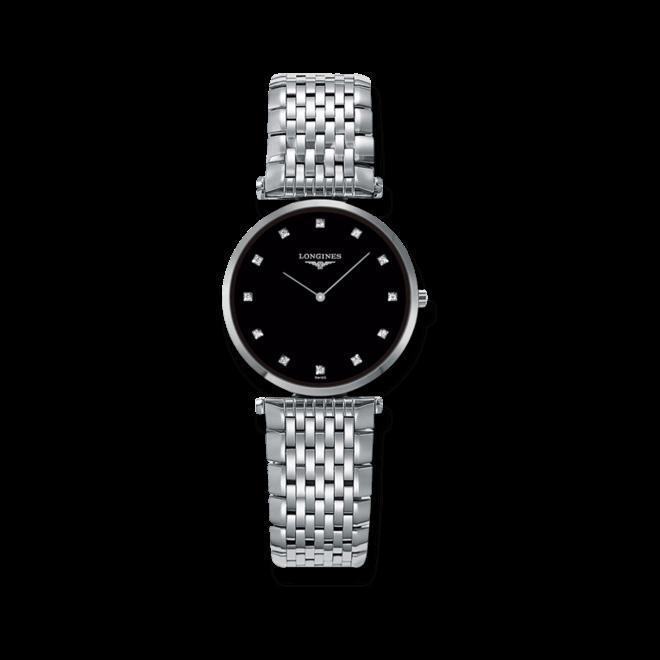 Damenuhr Longines La Grande Classique Quarz 29mm mit Diamanten, schwarzem Zifferblatt und Edelstahlarmband bei Brogle