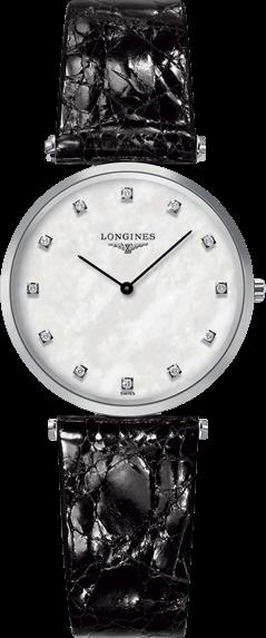 Damenuhr Longines La Grande Classique Quarz 29mm mit Diamanten, perlmuttfarbenem Zifferblatt und Kalbsleder-Armband