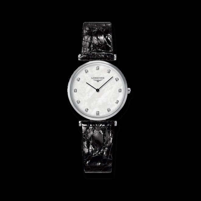 Damenuhr Longines La Grande Classique Quarz 29mm mit Diamanten, perlmuttfarbenem Zifferblatt und Kalbsleder-Armband bei Brogle