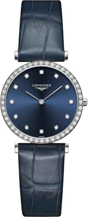 Damenuhr Longines La Grande Classique Quarz 29mm mit Diamanten, blauem Zifferblatt und Alligatorenleder-Armband