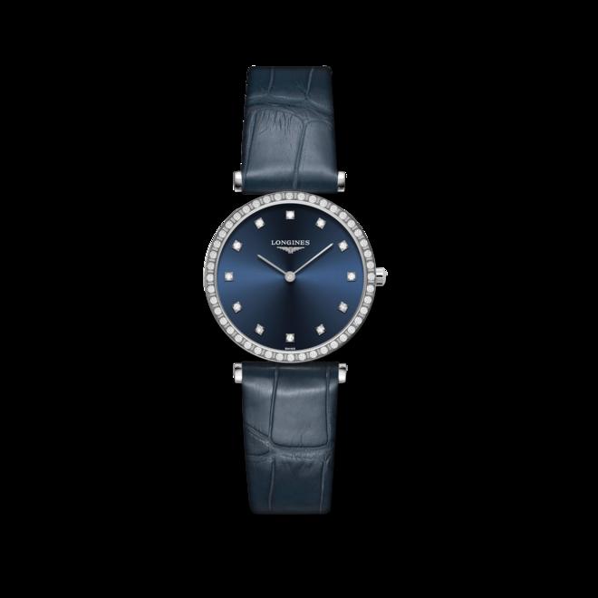Damenuhr Longines La Grande Classique Quarz 29mm mit Diamanten, blauem Zifferblatt und Alligatorenleder-Armband bei Brogle
