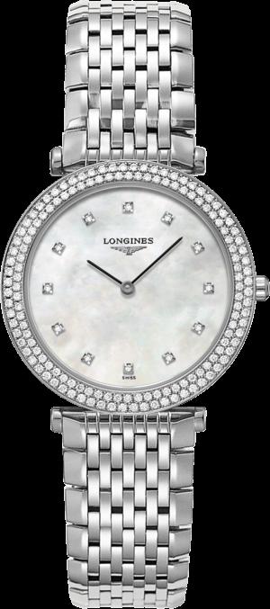 Damenuhr Longines La Grande Classique Quarz 31mm mit Diamanten, perlmuttfarbenem Zifferblatt und Edelstahlarmband