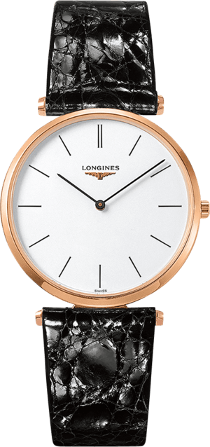 Herrenuhr Longines La Grande Classique Quarz 36mm mit weißem Zifferblatt und Kalbsleder-Armband