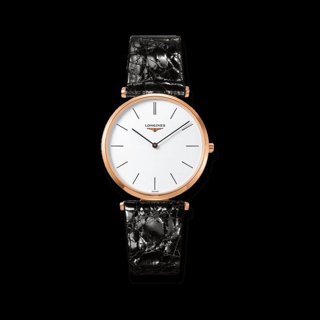 Herrenuhr Longines La Grande Classique Quarz 36mm mit weißem Zifferblatt und Kalbsleder-Armband bei Brogle