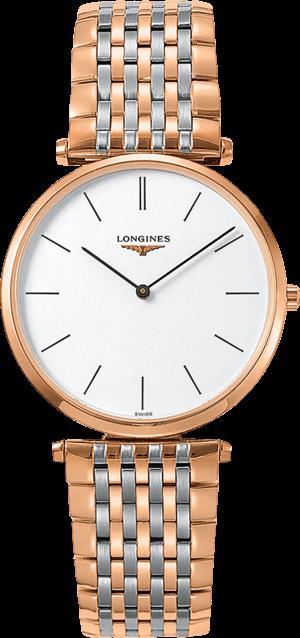 Herrenuhr Longines La Grande Classique Quarz 36mm mit weißem Zifferblatt und Edelstahlarmband