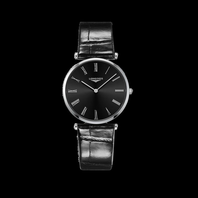 Damenuhr Longines La Grande Classique Quarz 36mm mit schwarzem Zifferblatt und Alligatorenleder-Armband bei Brogle