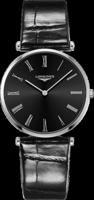 Damenuhr Longines La Grande Classique Quarz 36mm mit schwarzem Zifferblatt und Alligatorenleder-Armband