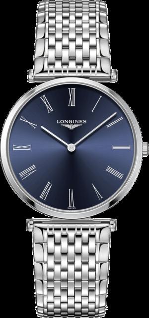Herrenuhr Longines La Grande Classique Quarz 36mm mit blauem Zifferblatt und Edelstahlarmband
