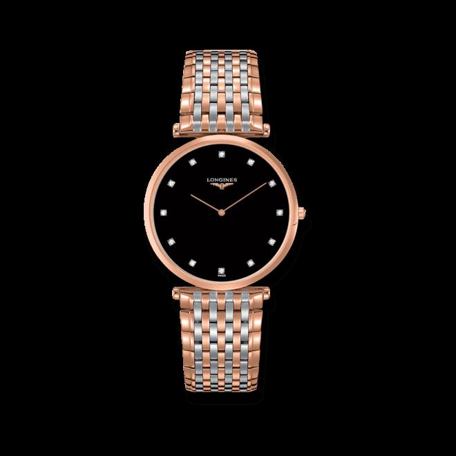Damenuhr Longines La Grande Classique Quarz 37mm mit Diamanten, schwarzem Zifferblatt und Edelstahlarmband