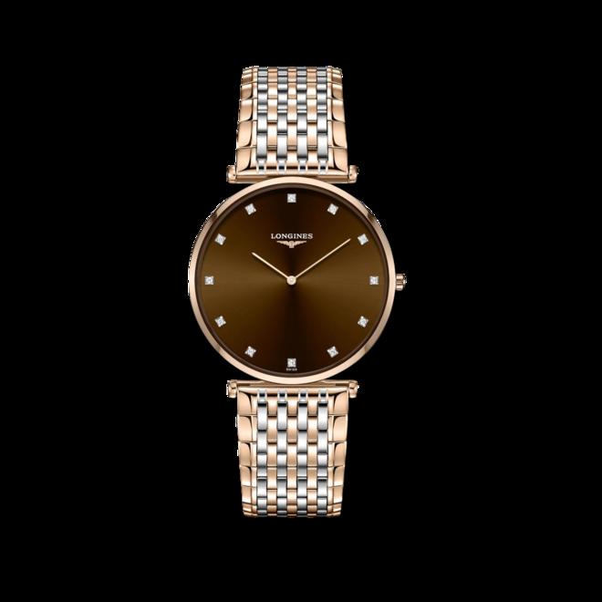 Damenuhr Longines La Grande Classique Quarz 37mm mit Diamanten, braunem Zifferblatt und Edelstahlarmband bei Brogle