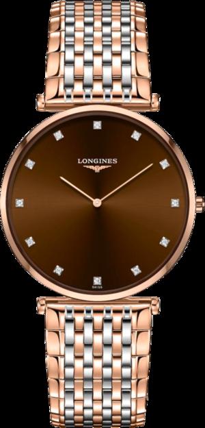 Damenuhr Longines La Grande Classique Quarz 37mm mit Diamanten, braunem Zifferblatt und Edelstahlarmband