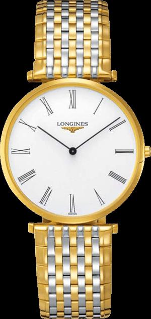 Herrenuhr Longines La Grande Classique Quarz 37mm mit weißem Zifferblatt und Edelstahlarmband