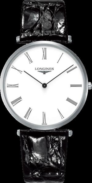 Herrenuhr Longines La Grande Classique Quarz 37mm mit weißem Zifferblatt und Alligatorenleder-Armband
