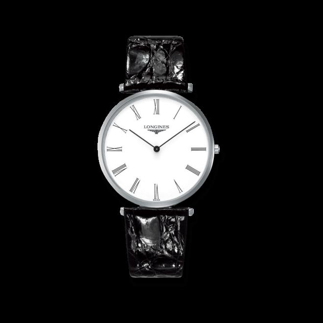 Herrenuhr Longines La Grande Classique Quarz 37mm mit weißem Zifferblatt und Alligatorenleder-Armband bei Brogle