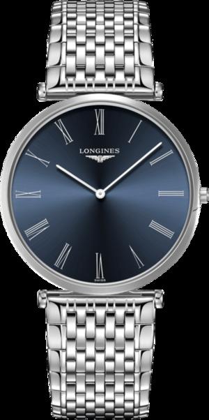 Herrenuhr Longines La Grande Classique Quarz 37mm mit blauem Zifferblatt und Edelstahlarmband